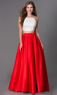 Sexy Red Long 2 Piece Prom Dresses 2016 O Neck Appliques ...