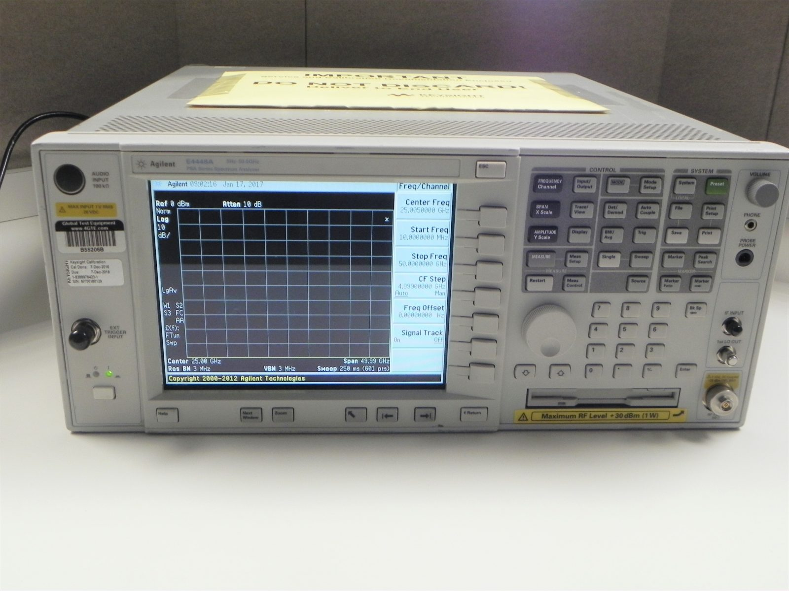 Network Analyzer Hp Agilent E4448a Psa Series Spectrum Analyzer 3 Hz 50 Ghz Options 1ds B7j H70 Ayz 219 226 Calibrated