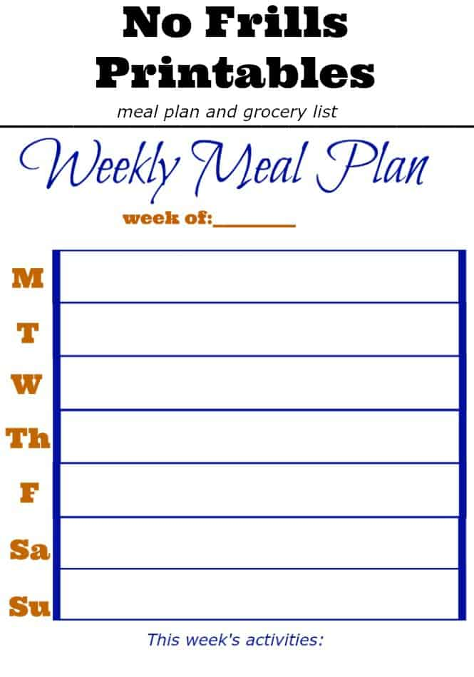 No Frills Meal Planning Printable - 4 Hats and Frugal