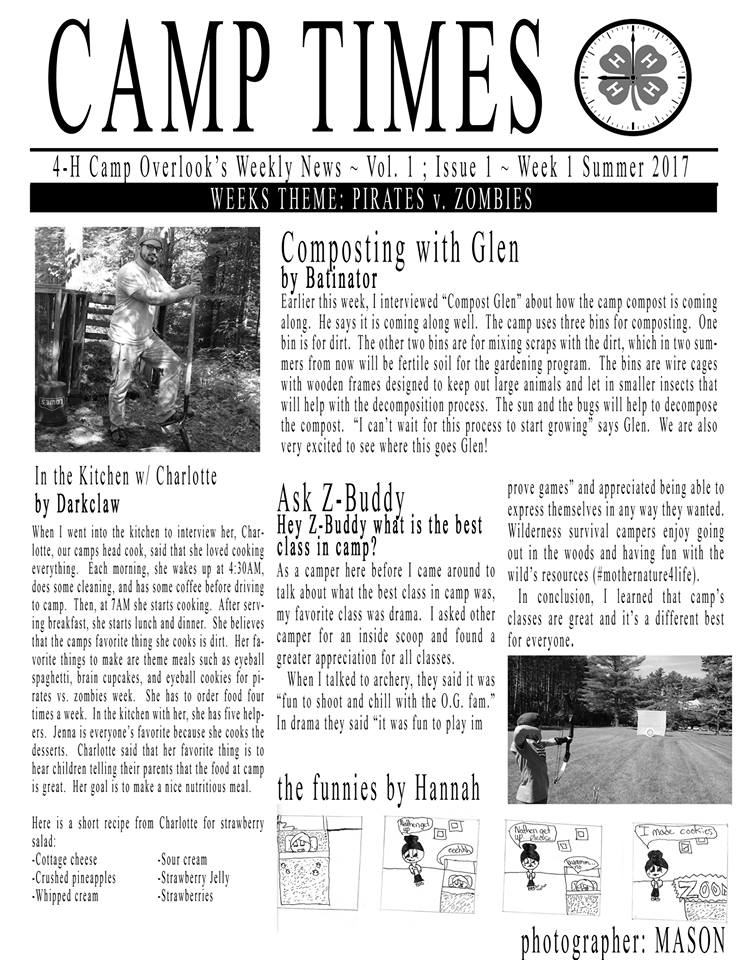 Camp Newspaper 4-H Camp Overlook