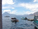 Boats anchored out on Lake Atitlan