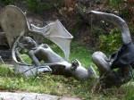 A local sculpture lying in a local artesian's yard.