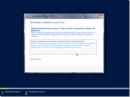 Instalar a Hyper-V Server 2