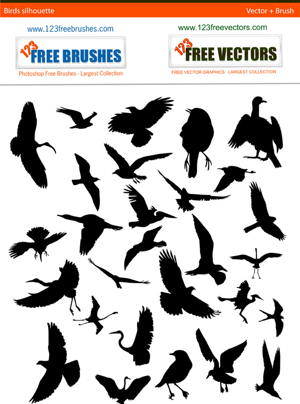 Birds silhouettes free vector and photoshop brush Free Vector / 4Vector