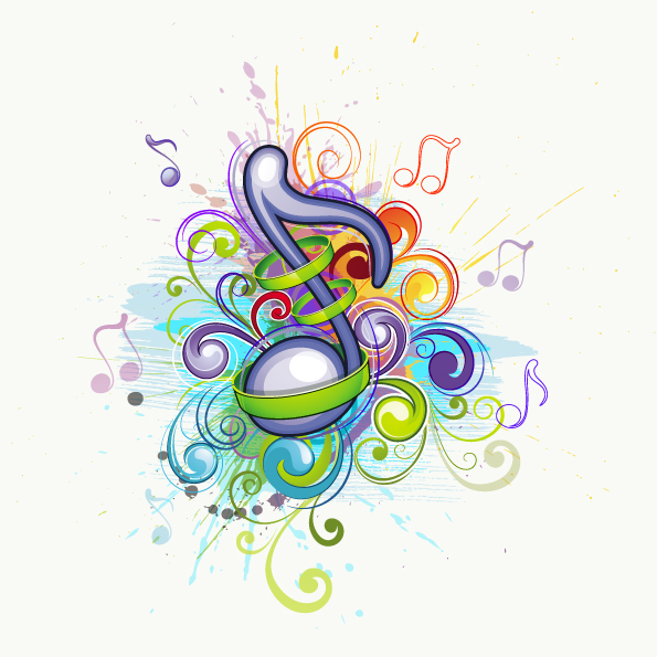 Brilliant music background pattern 01 vector Free Vector / 4Vector