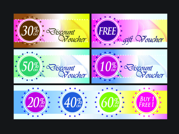 Fashion discount card template vector with discount coupons Free