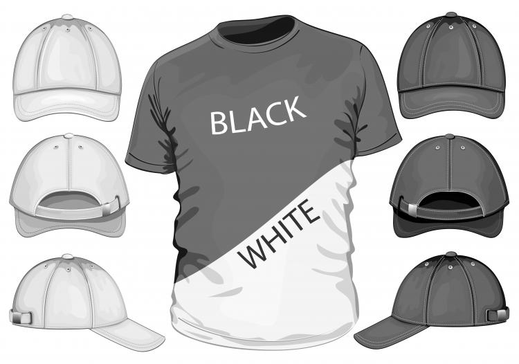 Black t shirt vector front and back shortsleeve tshirt template 04 vector free vector 4vector
