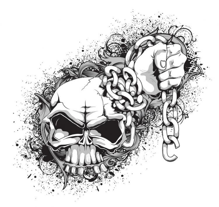 Black t shirt vector free -  Free Vector Skull And Crossbones Tshirt Pattern Vector Download