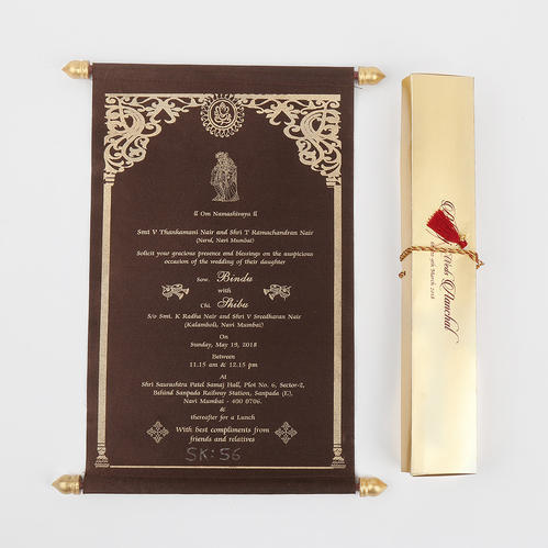 Traditional Indian Scroll Wedding Invitations In Brown Satin, Shape