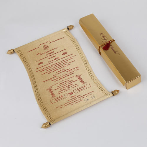 Royal Indian Scroll Wedding Invitation In Golden Satin, Shape - scroll wedding invite