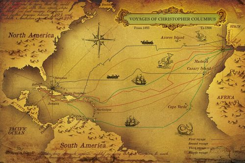 Pirate Wallpaper Quote Vinyl Horizontal Voyages Of Christopher Columbus World Map