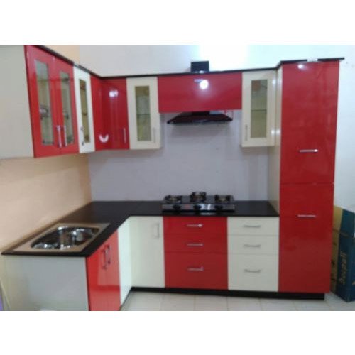 Modular Kitchen Design Red And White Red And White Modular Kitchen Cabinets At Rs 65000 /unit