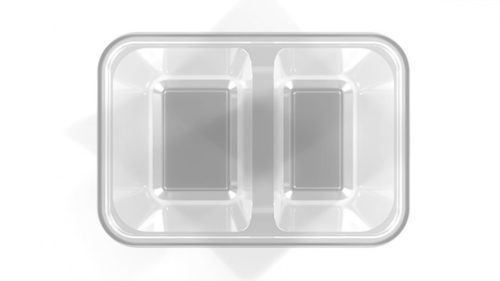 Disposable Plastic Food Containers 2 Cavity Food