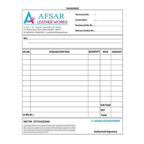 Tax Invoice Form Printing Service in Dharavi, Mumbai, Aesthetics