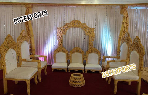 Crown Royal Buggy Indian Wedding Furniture Wedding Mandap Wooden Carved