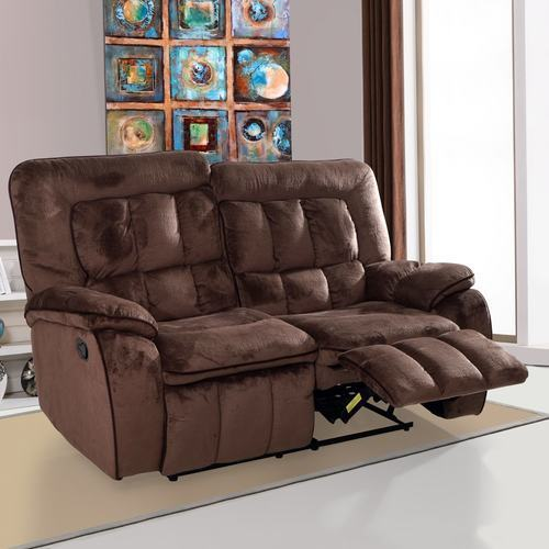 Corsetta 2 Seater Recliner Sofa 2 Seater Augusta Fabric Chocolate Color Recliner Sofa, Rs
