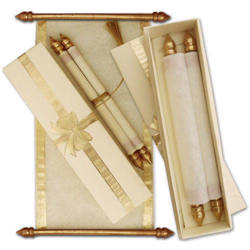 Golden And White Scroll Wedding Invitation Card, Rs 1500 /piece - scroll wedding invite