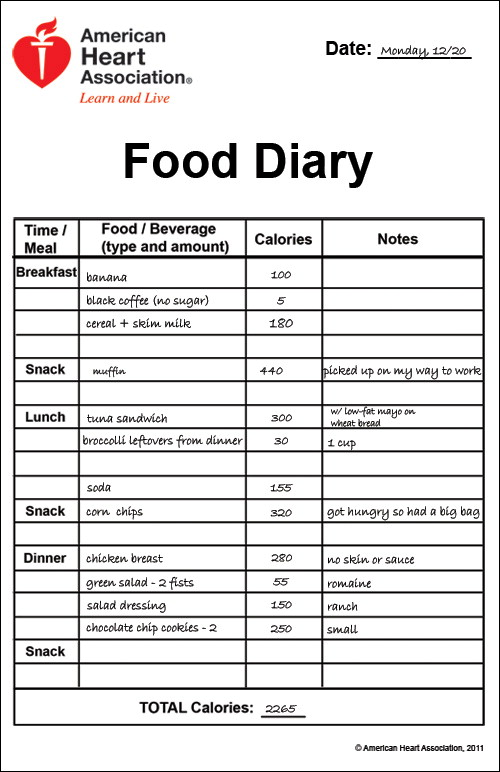 food diary example