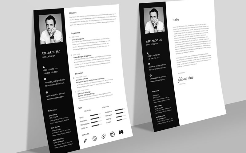 template cv psd black