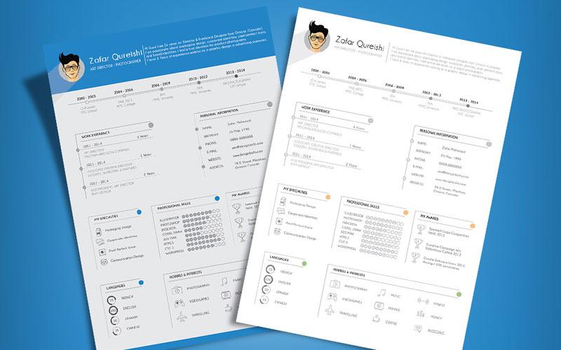 50 Free Creative CV Resume Design Templates For All Professionals - Resume/cv Template