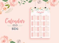 Free One Page 2018 Printable Wall Calendar Design Template