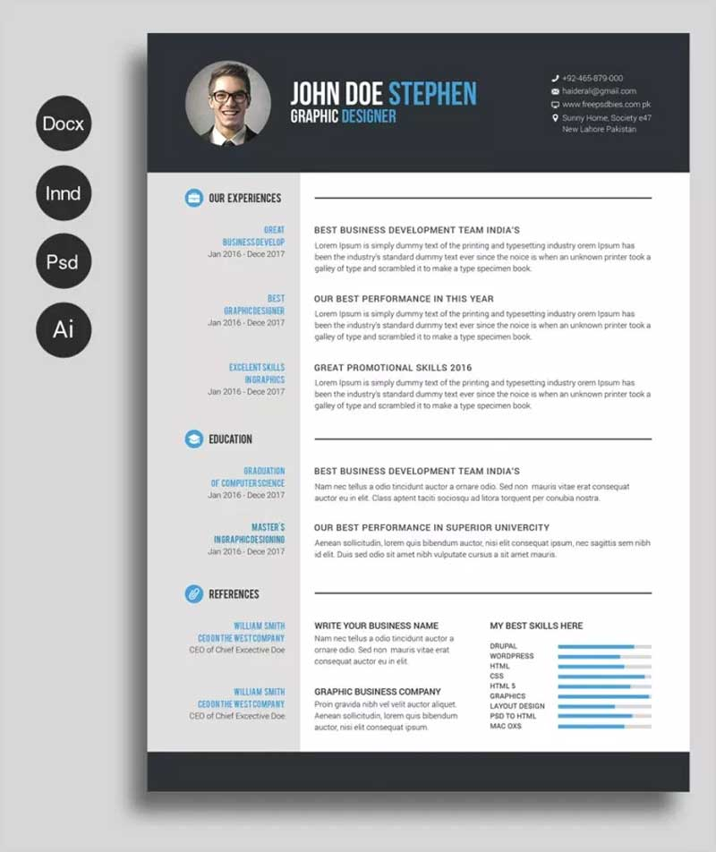 50 New And Trendy Free CV Resume Design Templates for 2019 - 50 Graphics