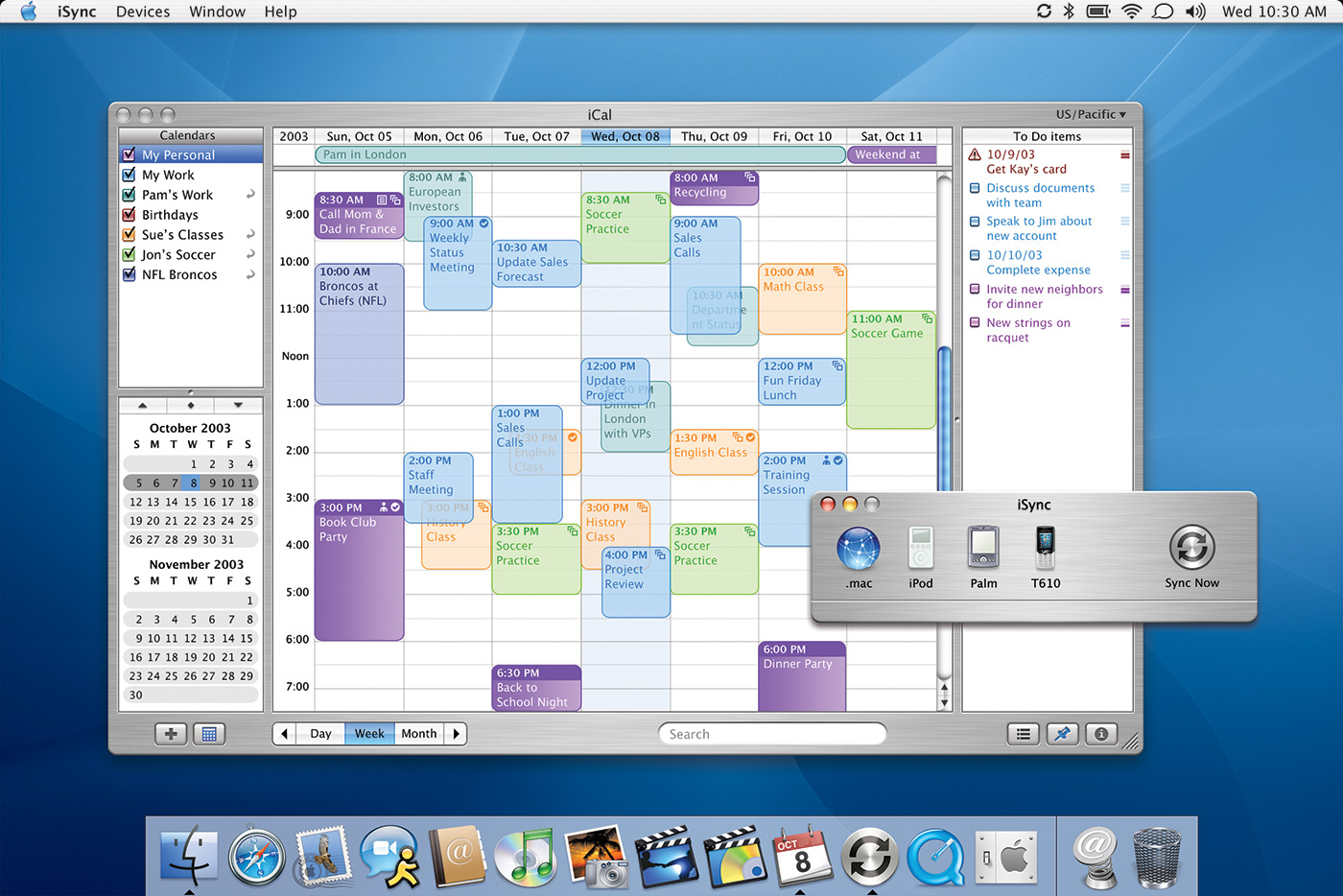 iSync in Mac OS X 10.3 Panther