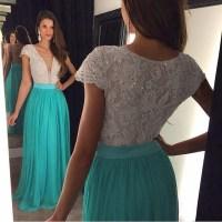 Cap Sleeve Elegant Prom Dress, Lace Beaded Prom Dress ...