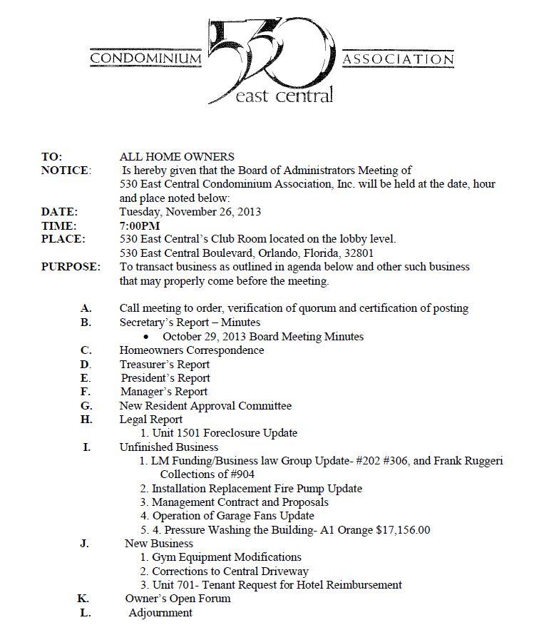 Meeting Notice and Agenda 530 East Central Condominium