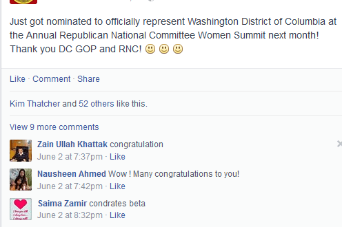 Saba Ahmed now represents Washington, DC at a Republican Women's forum.