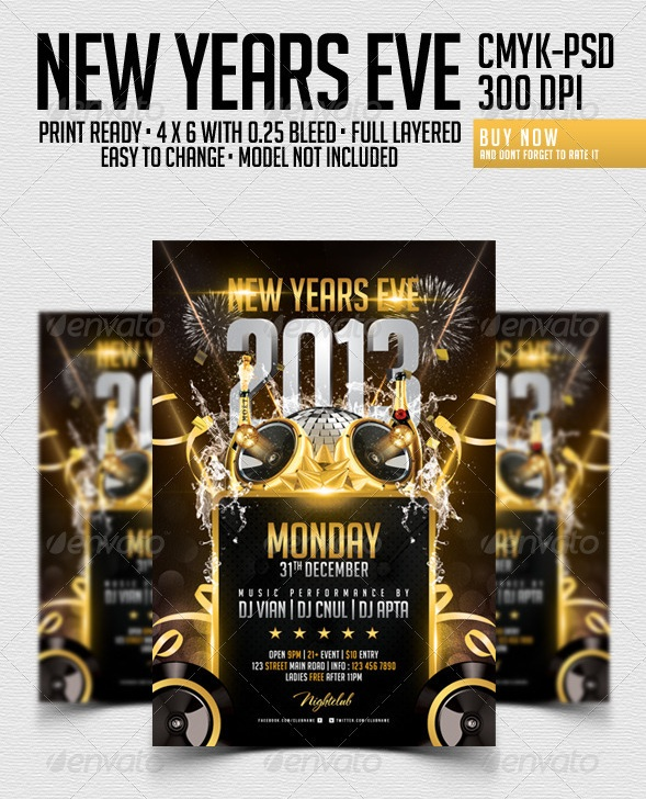 30 Best New Year Flyers of 2013 - 56pixels - new year poster template