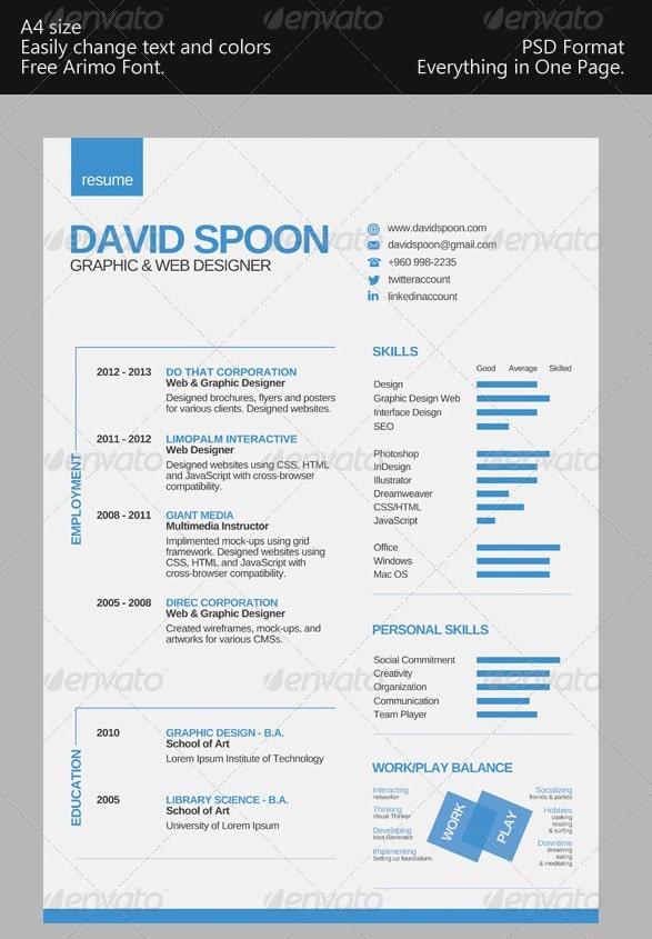 one or two page resume canada