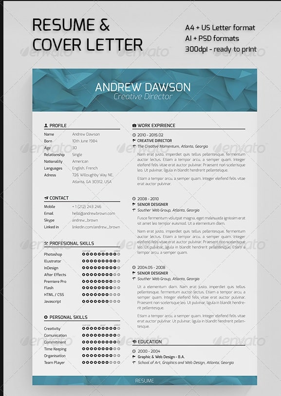 resume template with picture insert