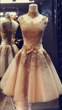 Champagne Prom Dress,High Collar Prom Dress, Applique Prom ...