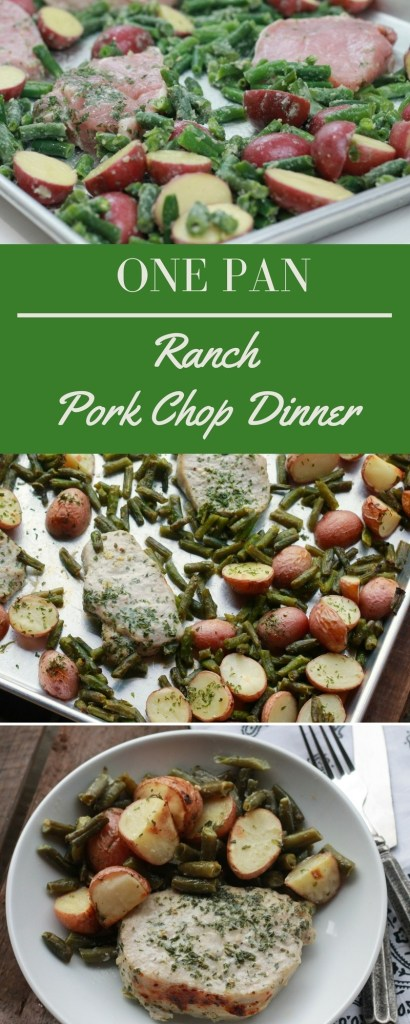ONE PAN Ranch Pork Chop Dinner. We LOVED this. Not a crumb leftover. Super easy, all on one pan. Love the recipes on this site. Always super easy and so good. | 5dinners1hour.com