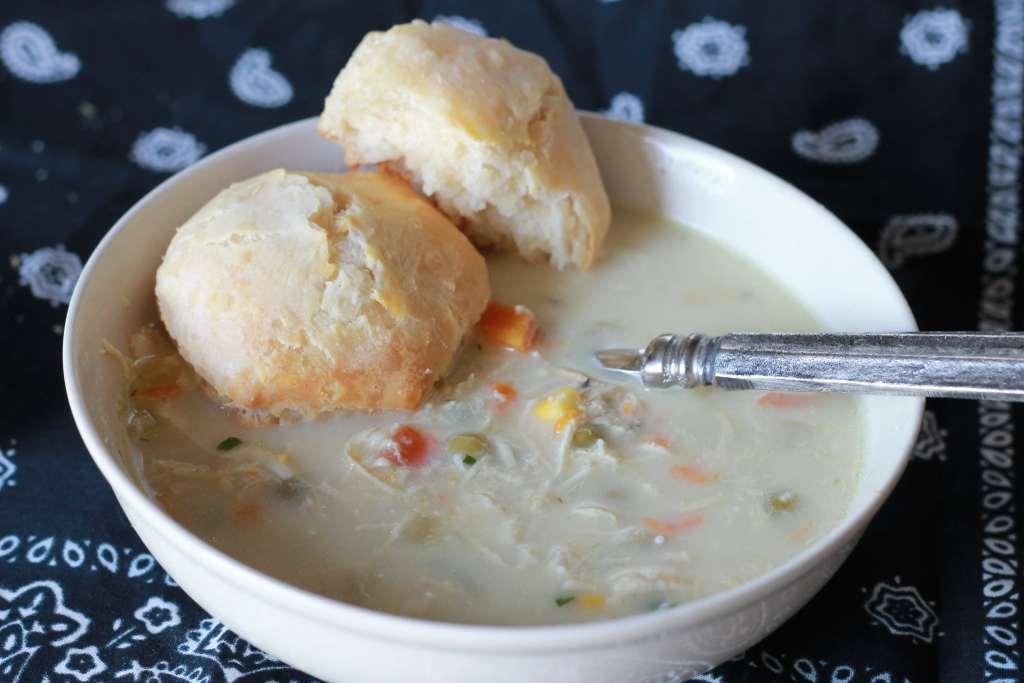 Slow Cooked Chicken Pot Pie Soup. The family freaked out over this one. They keep asking for me to make it again. So good! | 5dinners1hour.com