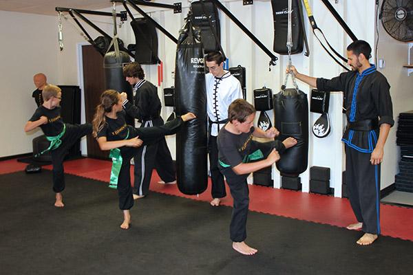Kicking Bags at 5 Elements Martial Arts San Diego