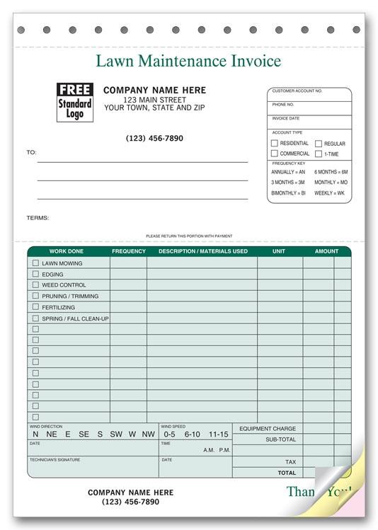 123 Lawn Maintenance Invoices 6 3/8 x 8 1/2\ - lawn service invoice