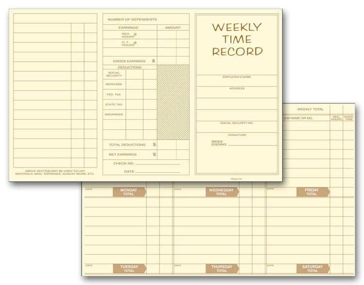 220 Pocket Size Weekly Time Cards 8 x 5\