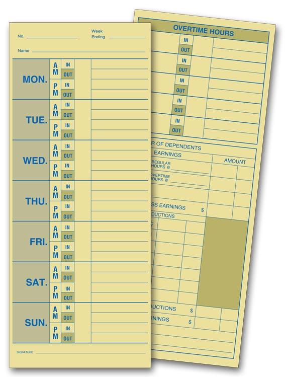 222 Weekly Time Card Manila Tag Stock 3 1/2 x 8 1/2\