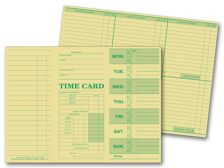 225 Weekly Time Card Tag Stock 10 3/8 x 7 3/4\