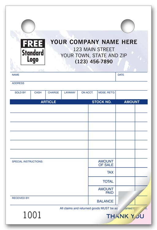 607T Register Forms Colored forms for Jewelers 4 x 6\