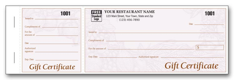 8385 Booked Light Burgundy Harvest Gift Certificates 6 5/8 x 3 1/8 - gift certificate with stub