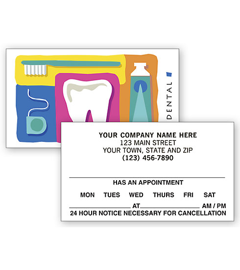 AC899 Dental 2 Sided Appointment Cards, Dental Reminder Design 2 X 3