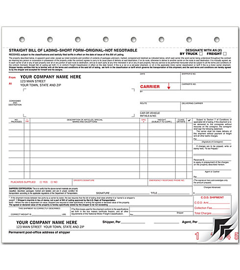 R1200 Bills of Lading Carbon Small Format 8 1/2 x 7 3/4\ - truck bill of lading form