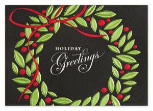 H14631 Greetings in Green Holiday Cards 7 7/8 x 5 5/8