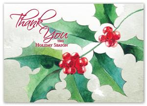 HP15318 Painted Holly Holiday Cards 7 7/8 x 5 5/8