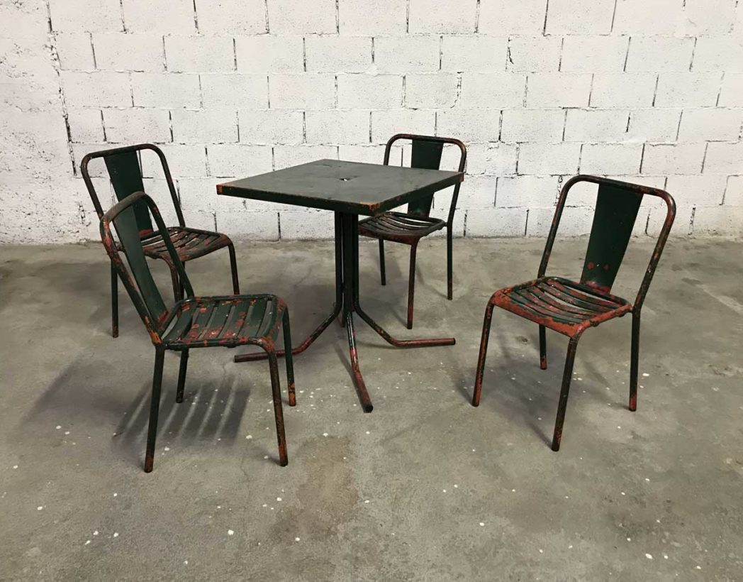 Chaises De Table Ensemble Table Et Chaises T4 Tolix De Bistrot Patine Verte