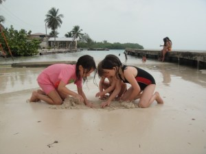 The kids love the beach outside the guest house