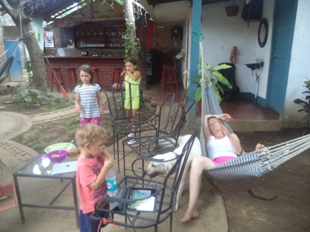 Relaxing in our lovely hostel in Léon, Nicaragua.